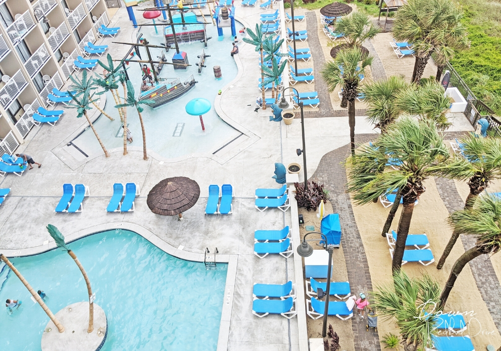 Captain's Quarter's Resort pool area from above