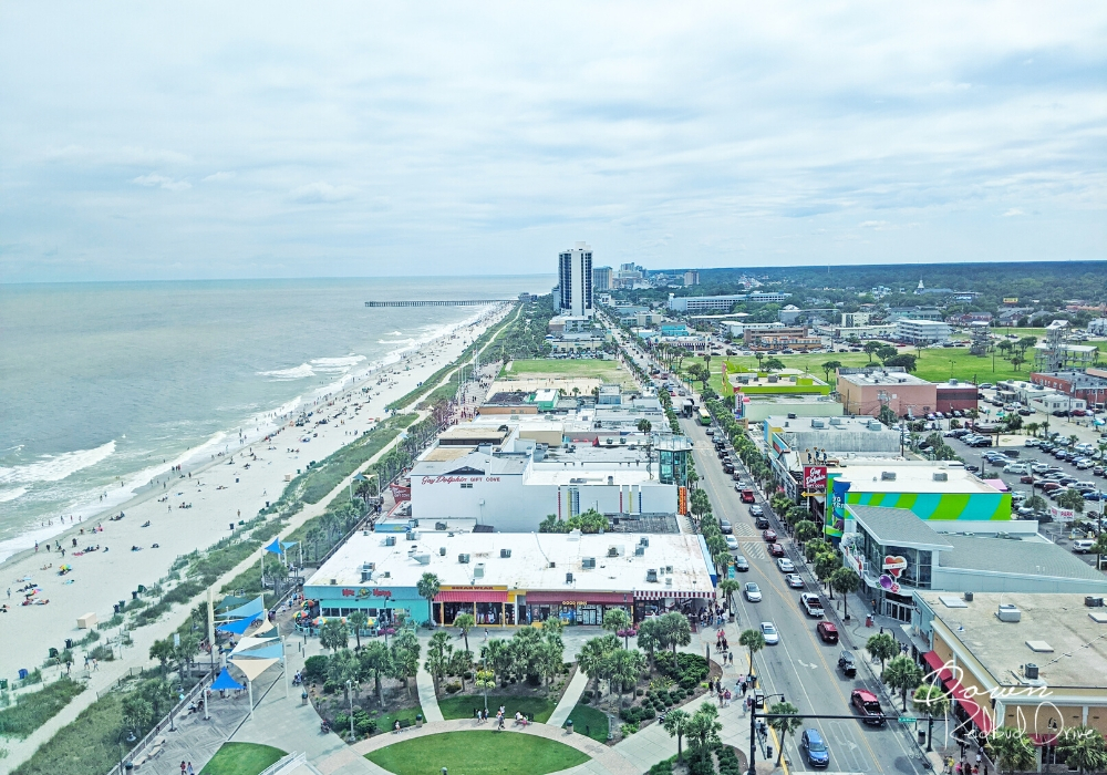 Aerial view of Myrtle Beach shopping strip