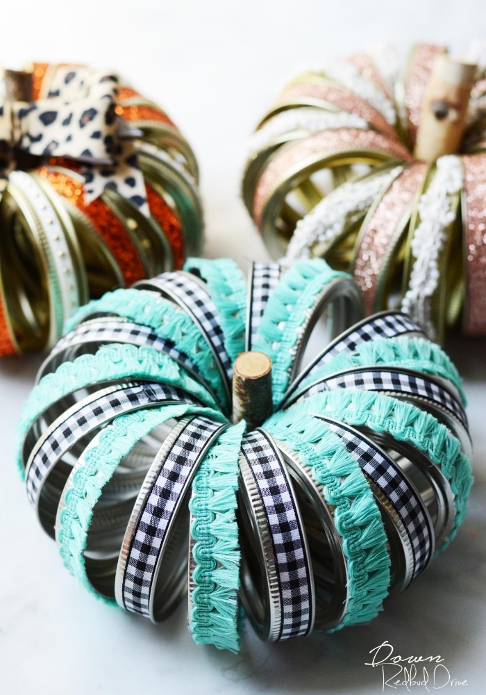 Turquoise and buffalo check Canning Ring Pumpkins