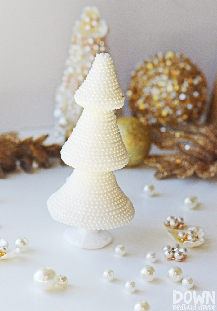Portrait image of the finished pearl Christmas tree DIY.