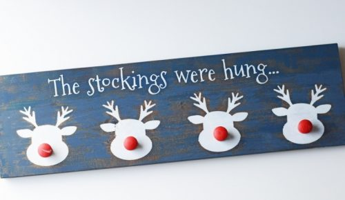 Reindeer stocking holder DIY featured image.