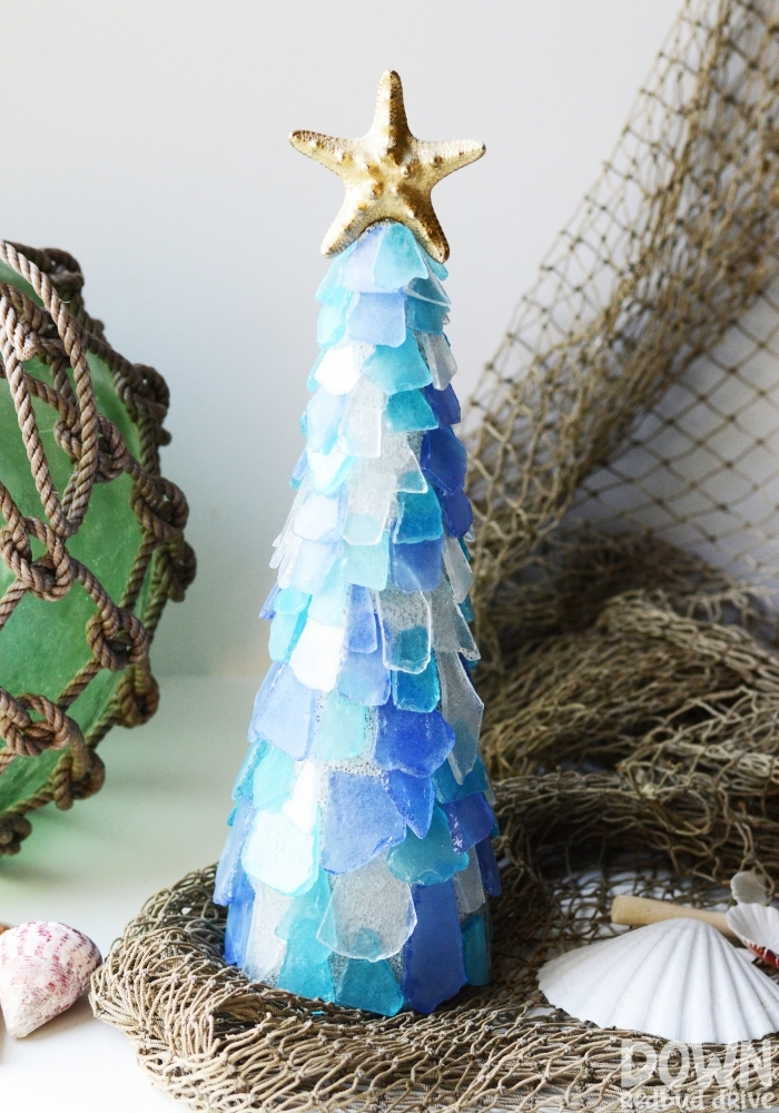 Tall image of the finished Sea Glass Christmas Tree DIY project.