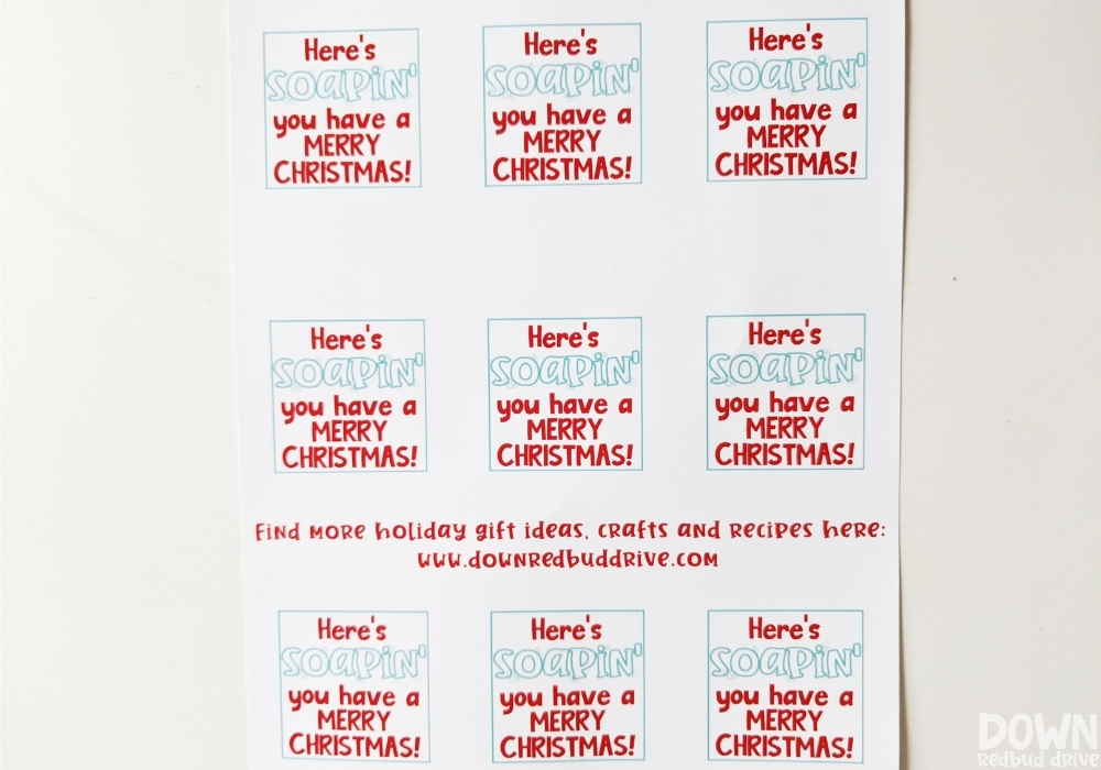 "Printable tags that say ""Here's soapin' you have a MERRY CHRISTMAS!"" for the Christmas hand soap gift."