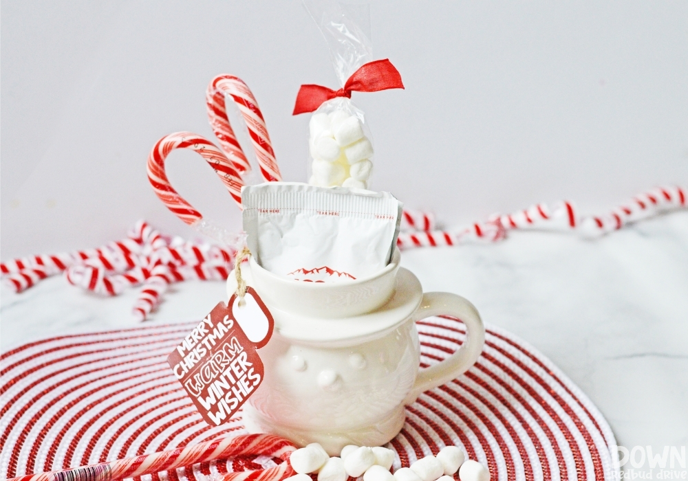 Close up of a DIY Hot Cocoa Gift in a white snowman mug.