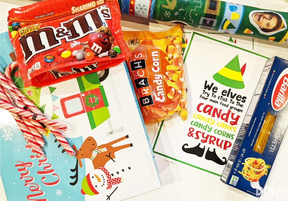 The supplies for the elf food groups gift idea.