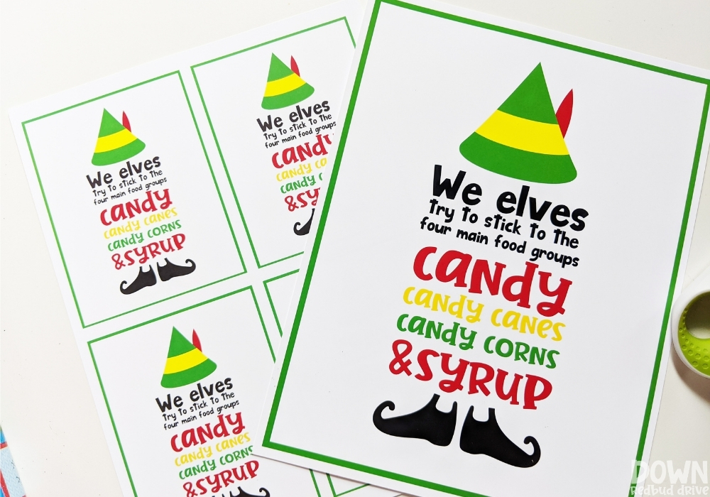 "Elf good group printables that say, ""We elves try to stick to the four main food groups: candy, candy canes, candy corns & syrup."""
