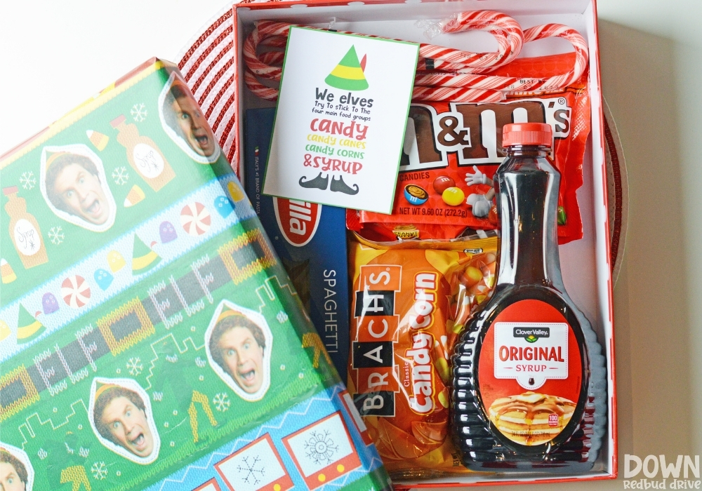 The finished elf food group gift idea.