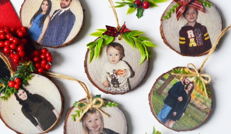 Overhead shot of the finished DIY Wood Photo Ornaments.