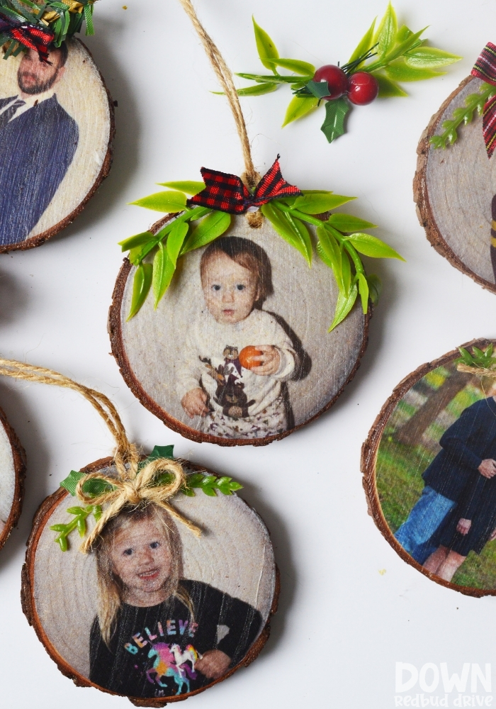 Tall overhead shot of the finished DIY Wood Photo Ornaments.
