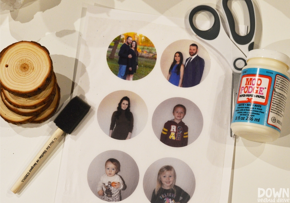 Overhead shot of the supplies for the DIY Wood Photo Ornaments.