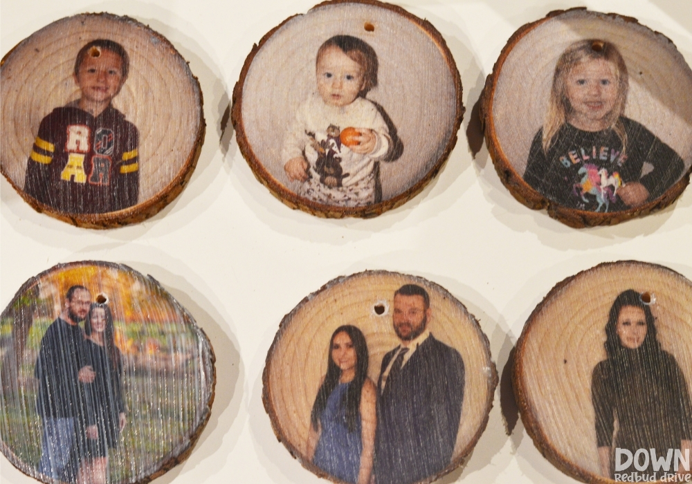 The DIY Wood Photo Ornaments drying after having the pictures applied to them.