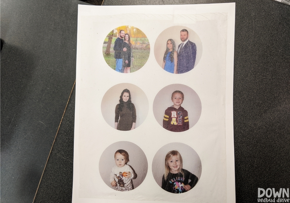 Photos printed onto tissue paper for making ornaments.