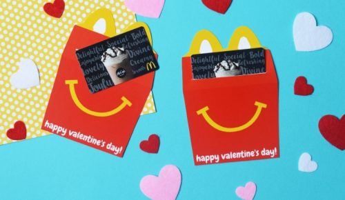 wide closeup of the Happy Meal Valentines.