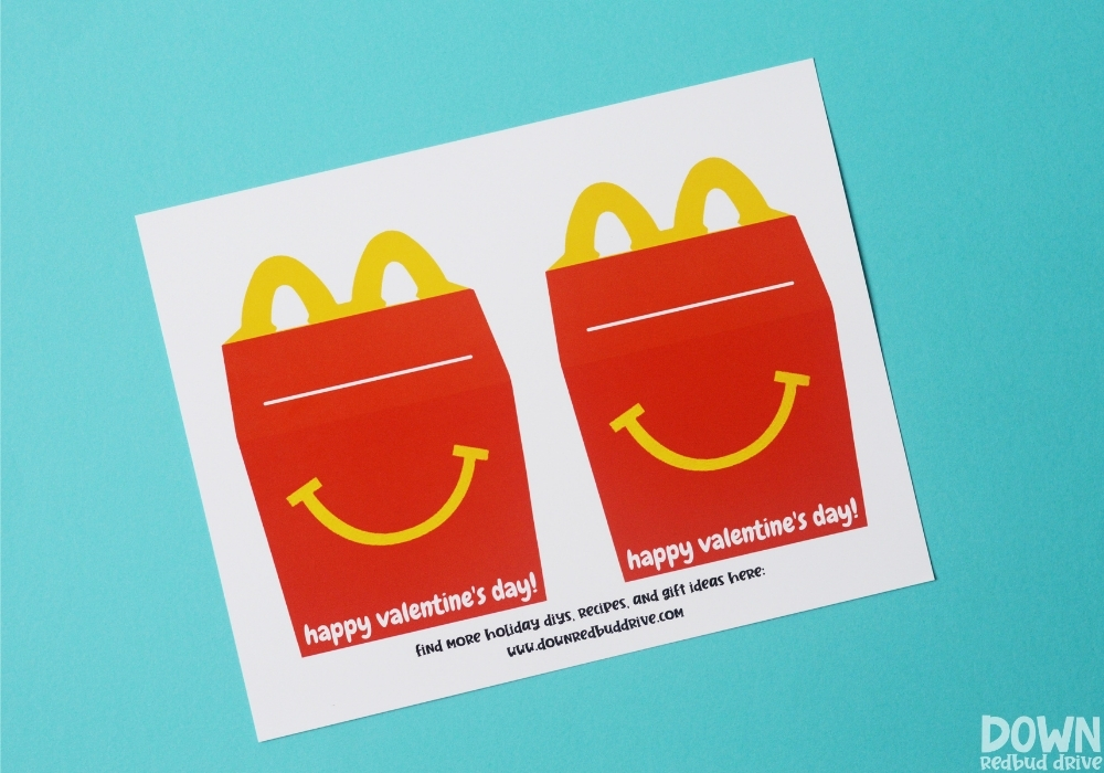 The free Happy Meal Valentines printed out.