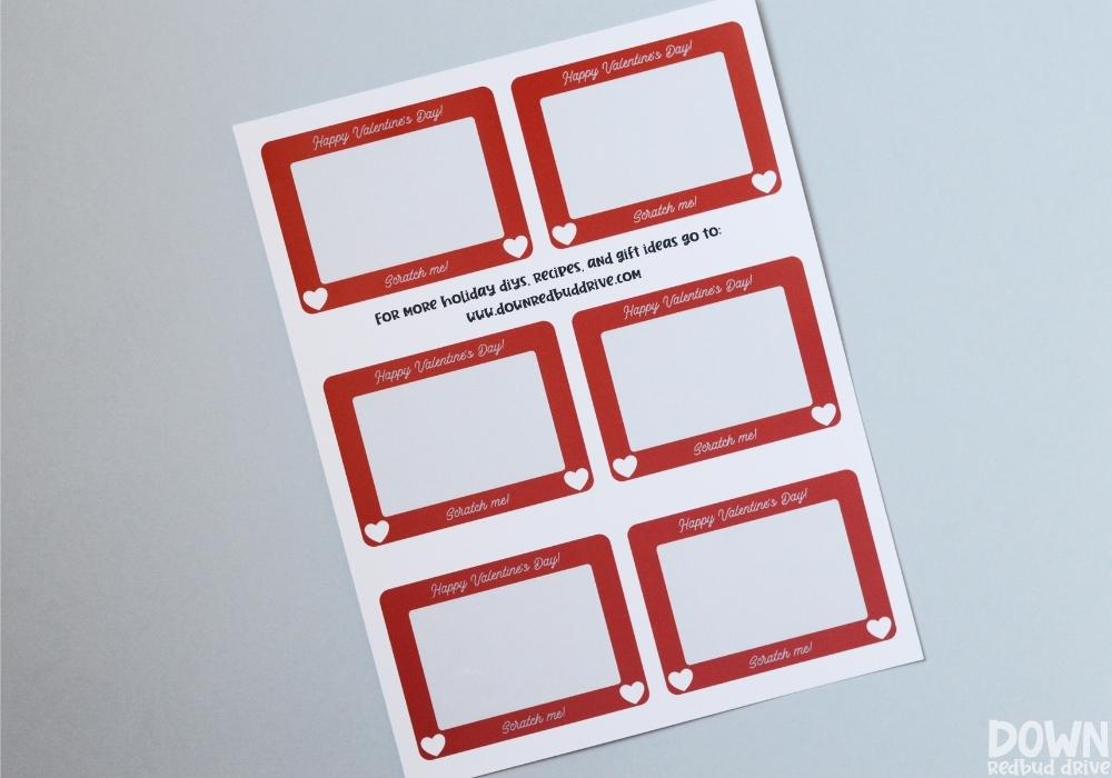 The free printable sheet for Scratch Off Valentines.