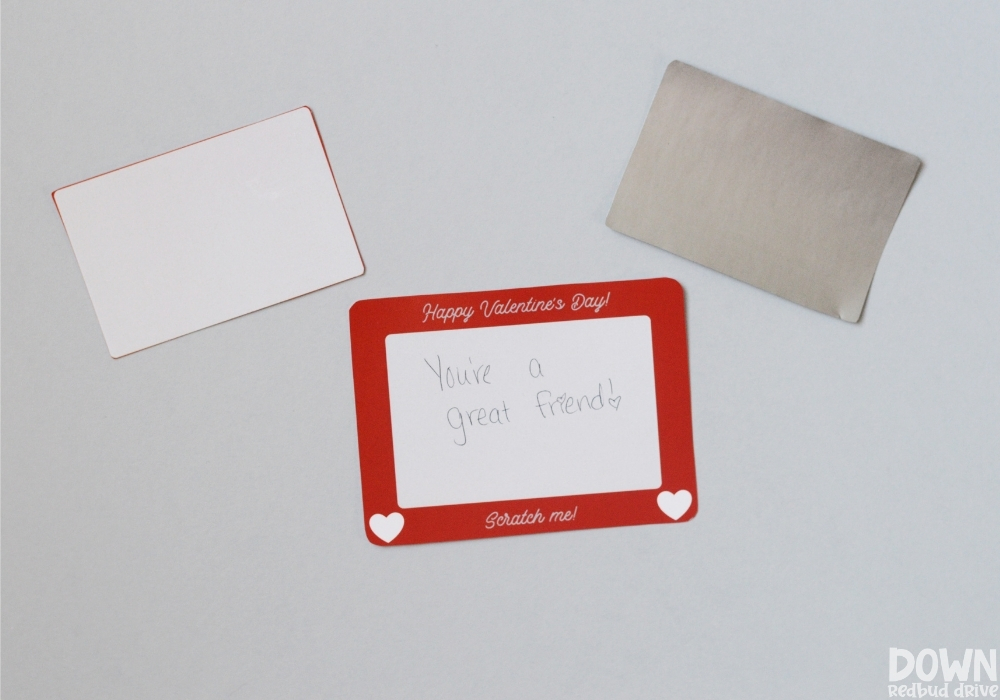 An etch a sketch card and the scratcher sheet for the Scratch Off Valentines.