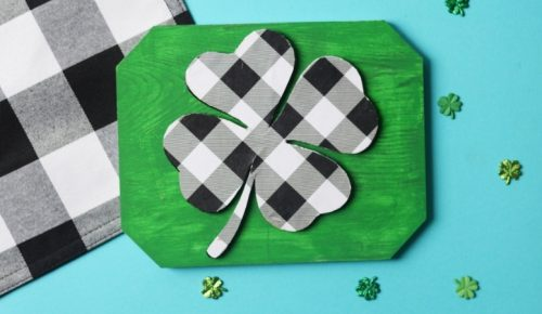DIY Buffalo Plaid Shamrock Sign featured image.
