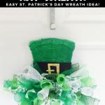 DIY Leprechaun Hat Mesh Wreath pin
