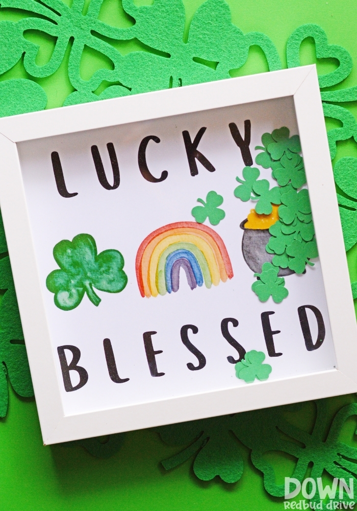 Tall image of the DIY lucky blessed art.