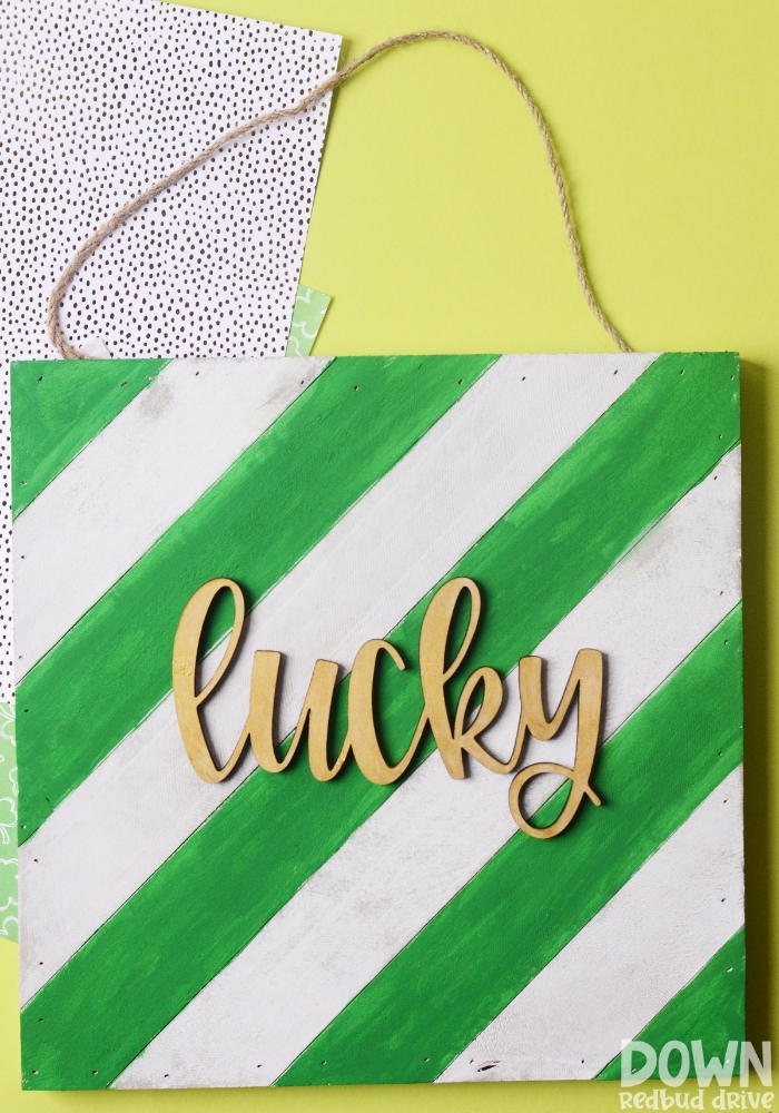 Tall shot of the finished DIY wooden lucky sign.