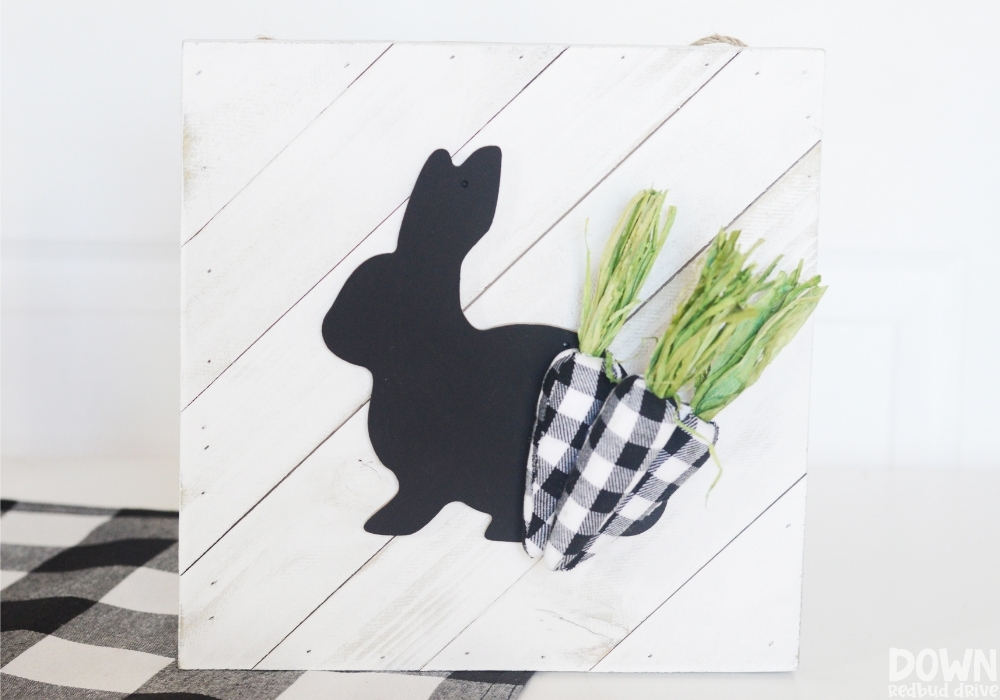 Close up of the finished DIY Buffalo Plaid Easter Sign.