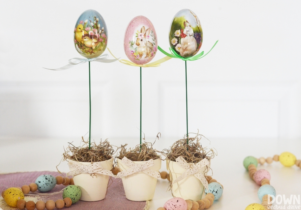 The finished DIY Easter Egg Topiaries.