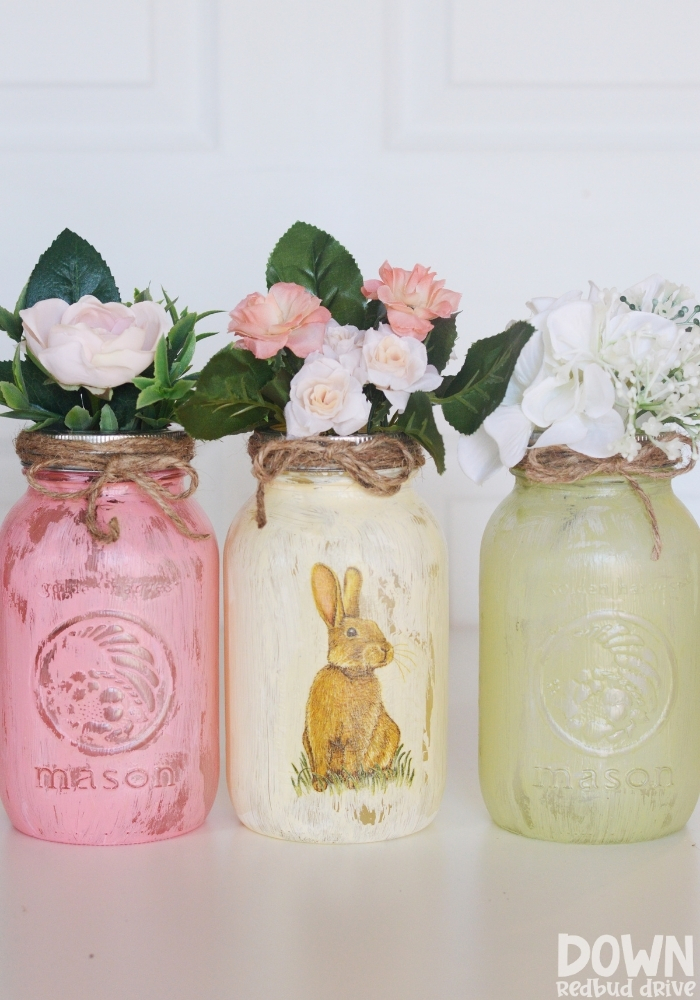 Tall shot of the finished DIY Easter mason jars.