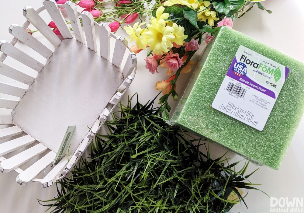 Overhead view of the supplies for the DIY Spring Floral Centerpiece.