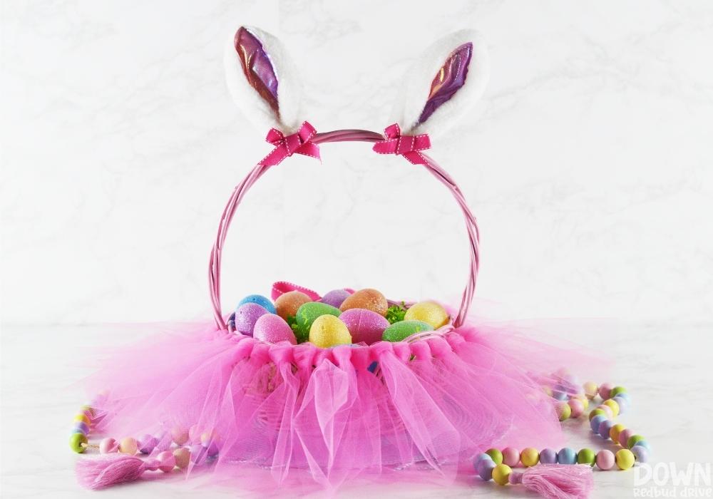 The finished DIY tutu Easter basket.