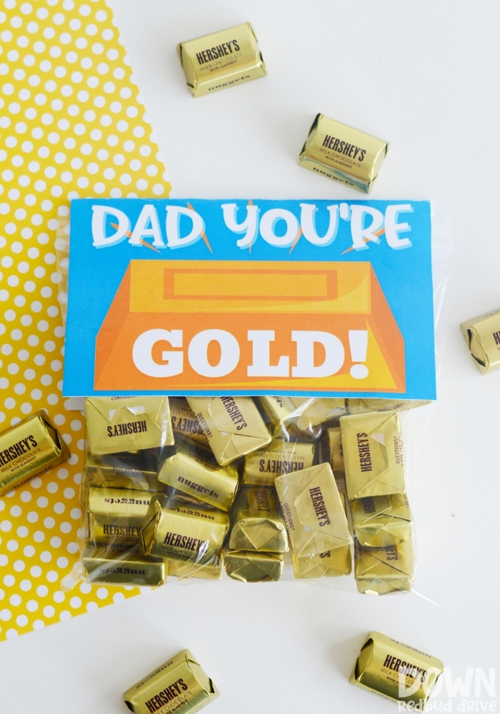 Tall overhead view of the finished DIY Father's Day Gold Candy Gift.