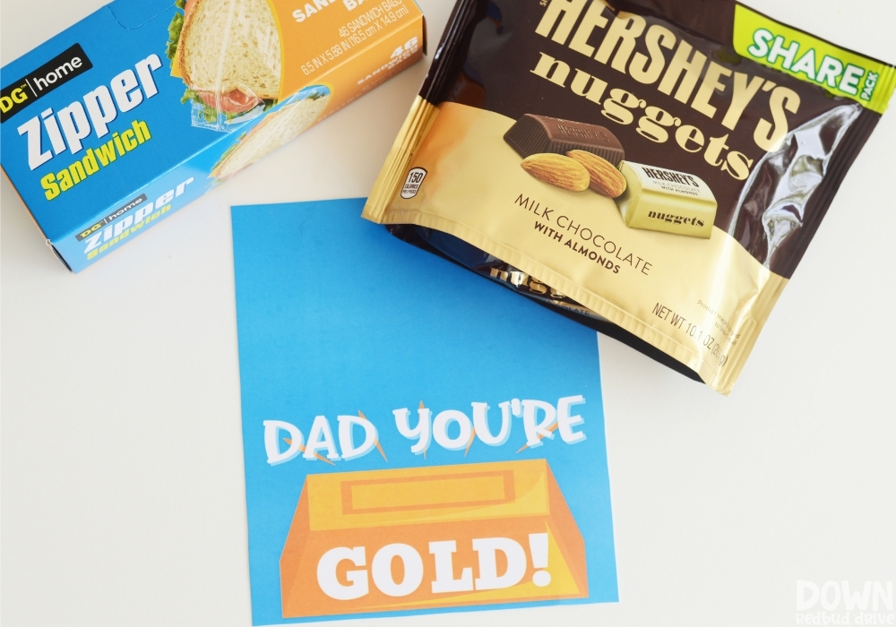 Overhead view of the supplies for the DIY Father's Day Gold Candy Gift.