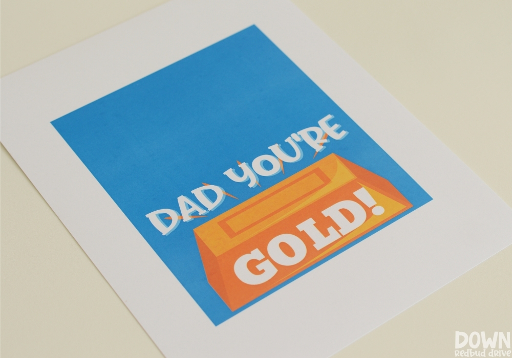 Close up of the printable for the father's day gold candy gift.