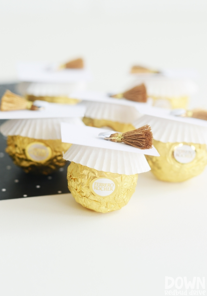 Tall picture of the finished DIY Rocher graduation treats.