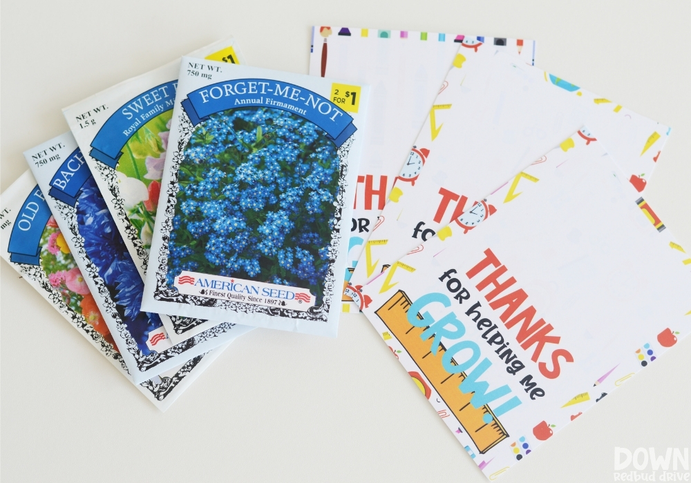 The seeds and printables for the seed gift for teachers.