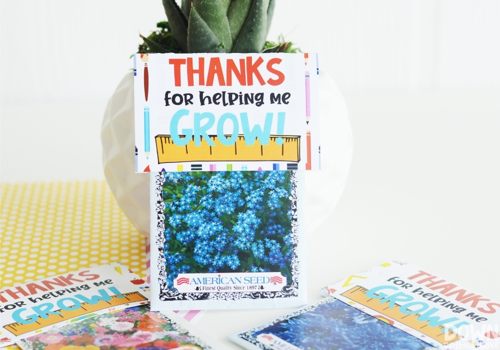 """The finished teacher seeds gift that says, """"Thanks for helping me grow!"""""""