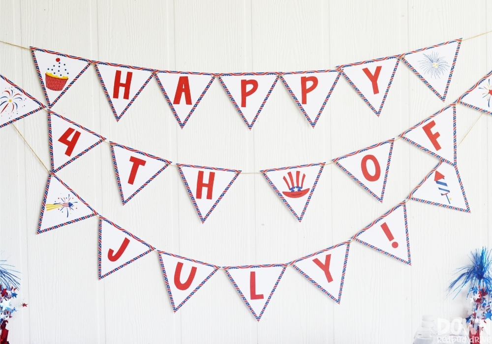 """The """"Happy 4th of July"""" party banner for the DIY 4th of July party."""