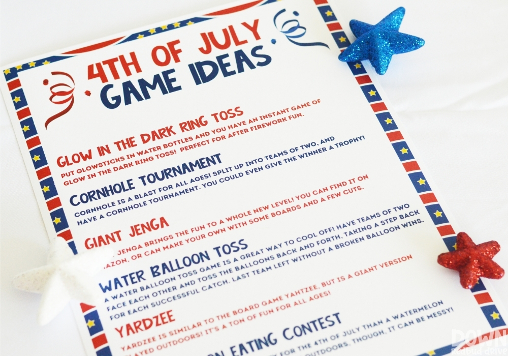 A printable with various 4th of July game ideas.