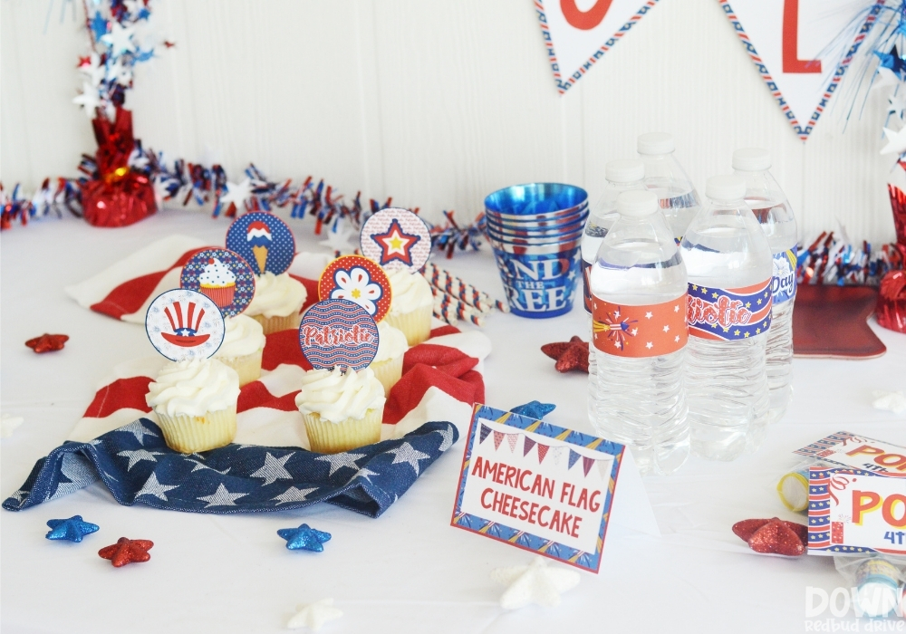 A wide closeup of the food table for the DIY 4th of July party.