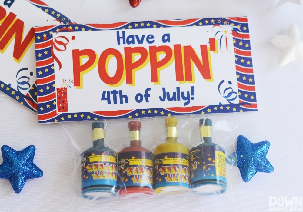 """The finished """"Have a Poppin' 4th of July"""" party gift."""
