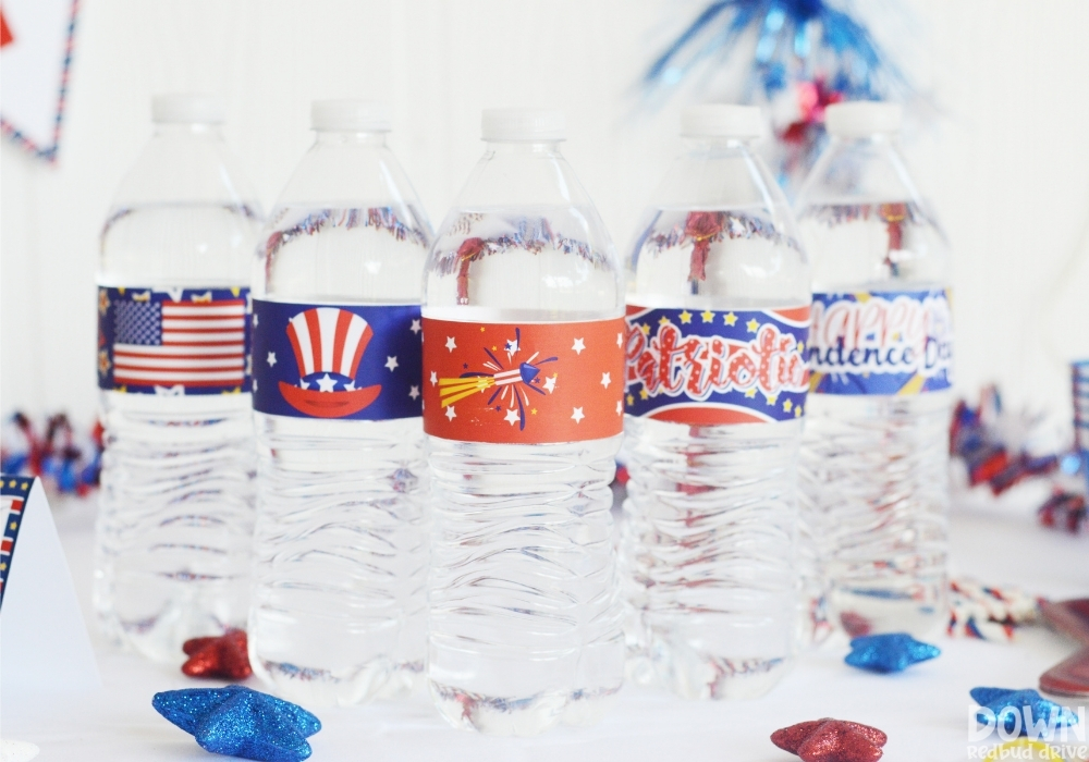 Water bottles with patriotic water bottle labels on them.