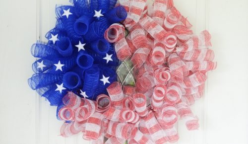 DIY American Flag Mesh Wreath Featured Image