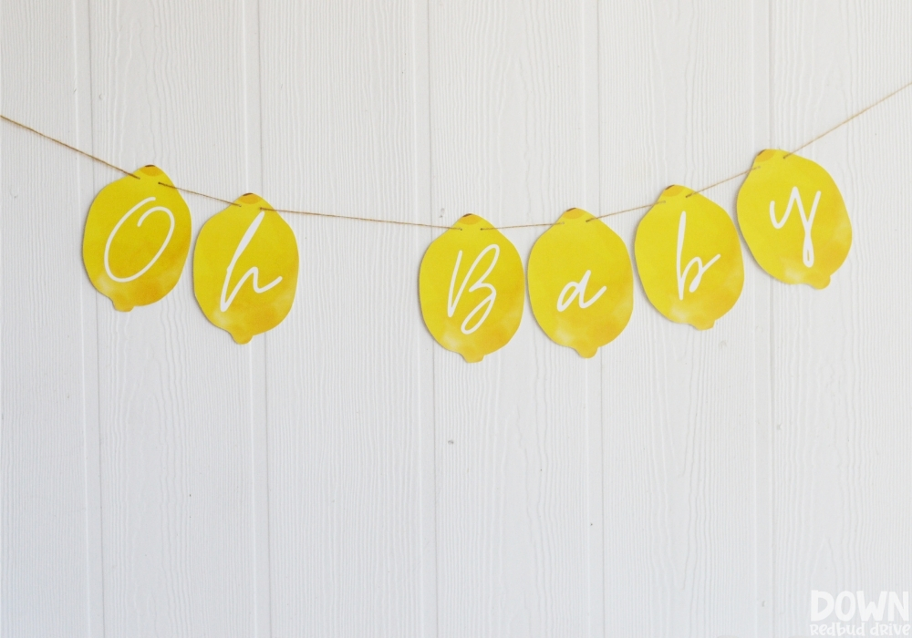 """A lemon themed banner that says """"Oh Baby"""" on it."""