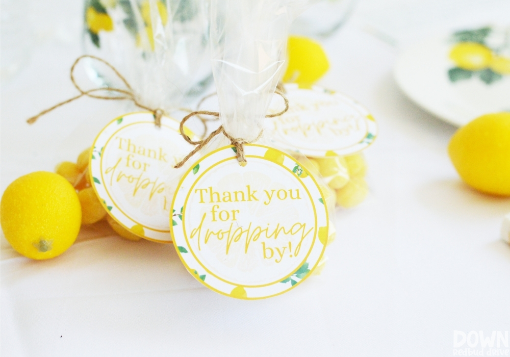 Close up of the parting gift printable tags for the DIY Lemon Baby Shower.