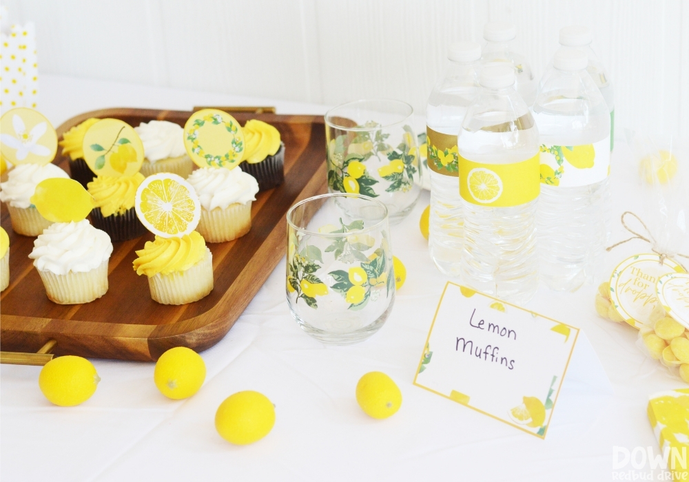 A wide closeup of the food table for the DIY Lemon Baby Shower.
