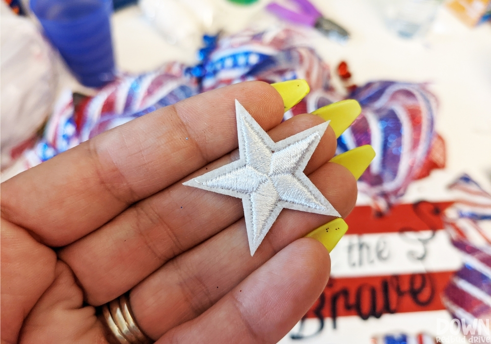 Close up of the star patches for the Patriotic Deco Mesh Wreath.