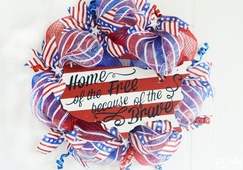 The finished Patriotic Deco Mesh Wreath.