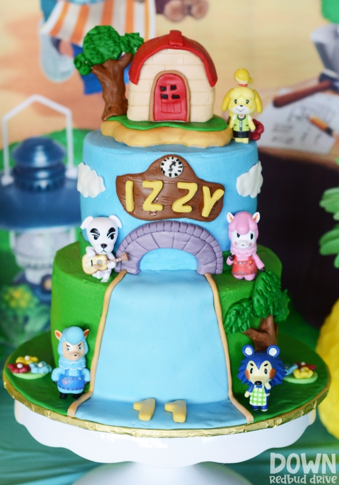 Closeup of the Animal Crossing birthday cake.