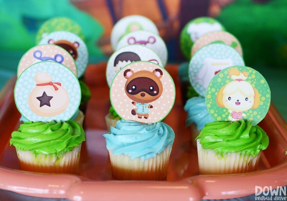 Closeup of Animal Crossing themed cupcakes.