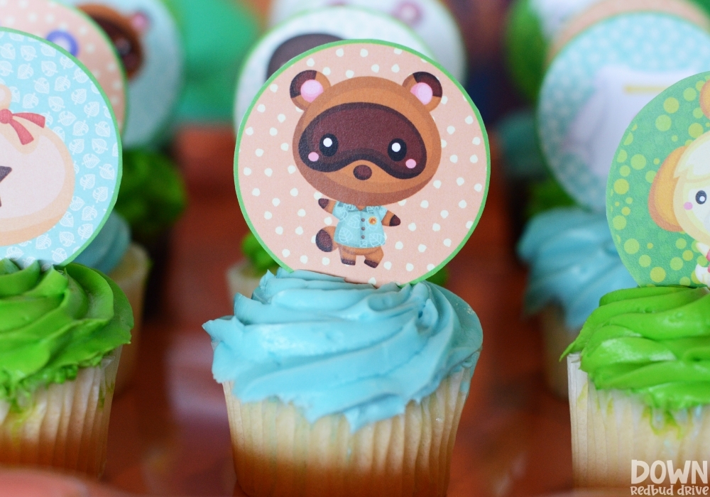 Closeup of the printable cupcake toppers for the Animal Crossing Birthday Party.