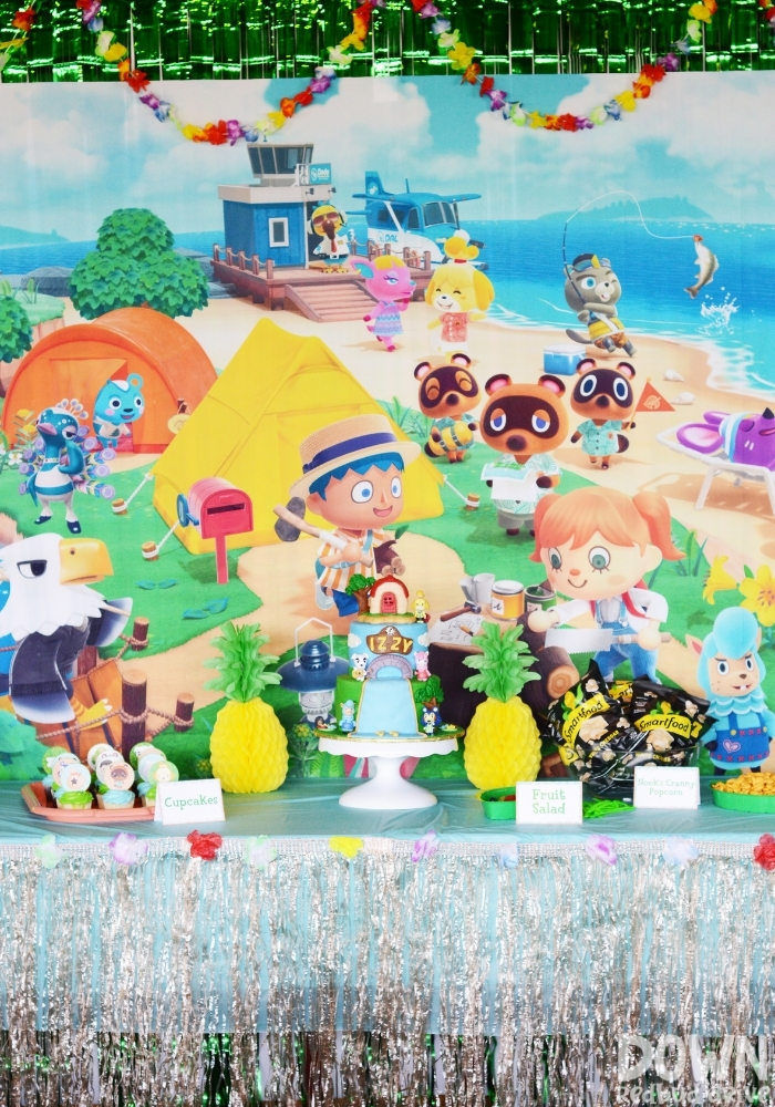A tall image of the Animal Crossing Birthday Party food table.